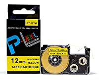カシオ ネームランド用 互換 テープカートリッジ 12mm XR-12YW 黄地黒文字