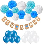 Baby Shower Decorations, Recosis IT IS A BOY Paper Garland Bunting Banner with 12 Paper Pom Poms and 20 Pieces