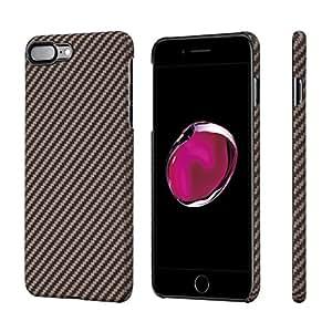 iPhone8 plus/iPhone7 plus ケース カバー ブランド「PITAKA」 軍用防弾チョッキ素材アラミド 繊維 極薄 ミニマリスト 軽い 高耐久性 (黒 ローズゴールド ブラック 柄)