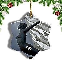Weekinoイギリスイングランドタイタニックベルファストベルファストクリスマスオーナメントクリスマスツリーペンダントデコレーション旅行お土産コレクション陶器両面デザイン3インチ