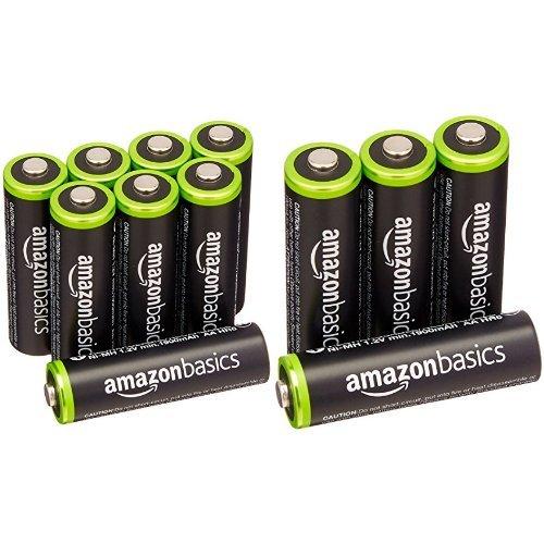 Amazonベーシック 充電式ニッケル水素電池 単3形12個パック (最小容量1900mAh、約1000回使用可能)
