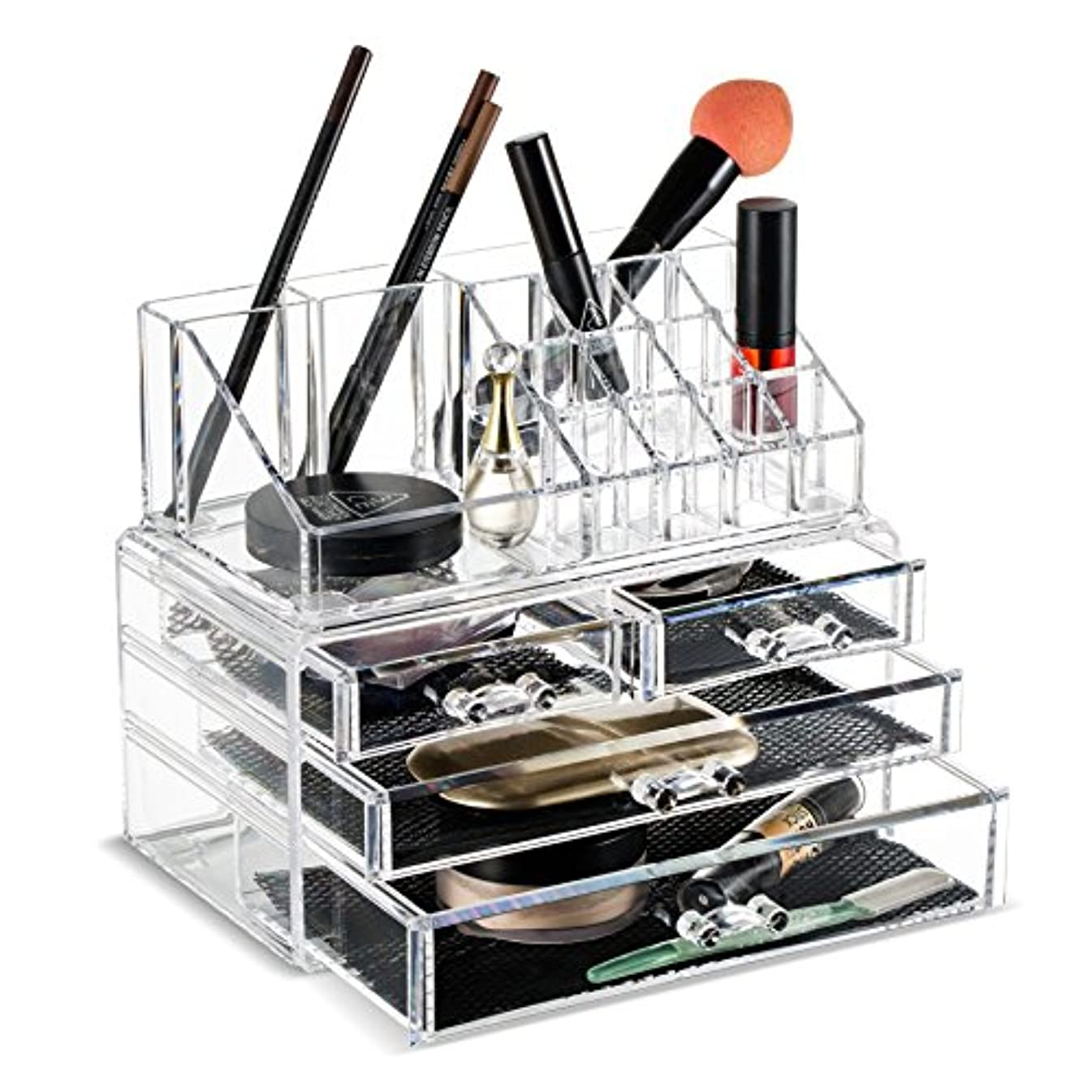 むちゃくちゃスクレーパー平行(2 Pieces Set) - Felicite Home Makeup Cosmetic Organiser Conceal/Lipstick/Eyeshadow/Brushes in One place Storage...