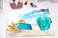 LBトロピカルビーチテーマ印刷小さなラグのバスルーム、ソフトフランネルと非スリップゴムBacking、夏ハワイアンon seaside Sand Beach 15.7X 23.6インチ