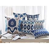 "Modern Homes Ikat Print Cotton Decorative Throw Pillow Covers / Cushion Covers 18"" x 18"" (Indigo Blue, Set of 6)"