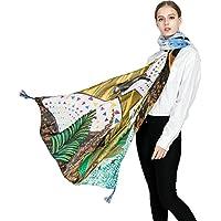 Ababalaya Women's Large Bohemian Oil Print Scarf Wrap Beach Shawl Tassels,White