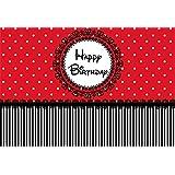 Yeele 10x6.5フィート 写真撮影用背景 Happy Birthdayビニールラウンドバナー レースエッジ ホワイト水玉 レッドブラックストライプ 子供 赤ちゃん 誕生日パーティー バナー ケーキ スマッシュ 写真背景 スタジオ小道具