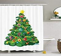 クリスマス&新年おめでとう シャワーカーテン バスカーテン Shower Curtain お風呂 180x180cm