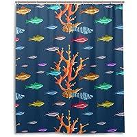 Chen Miranda防水シャワーカーテンのEverday使用Marine Lifeパターン海動物浴室セットポリエステルファブリックシャワーカーテンフック60x 72インチ 60x72