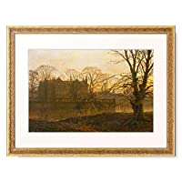 Grimshaw, Louis H,1870-1943 「English country house in autumn haze.」 額装アート作品