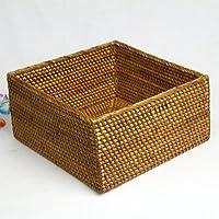 収納や卓上に☆ラタンとアタで編んだバスケットボックスM