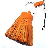 韓国ドラマ『お嬢様をお願い』ユン・ウネ(カン・ヘナ)スタイル 天然羊革タッセル(tassel)携帯ストラップ オレンジ