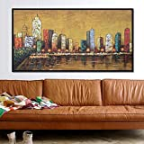 油絵装飾的な エレガントな純粋な手描きの油絵抽象スタイル街の夜寝室のリビングルームベッドサイド装飾的な絵画なしフレーム 家の装飾のためのウォールアート (サイズ : 60×120cm)