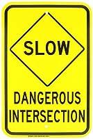 Brady 129423 Traffic Control Sign Legend Slow Dangerous Intersection 18 Height 12 Width Black on Yellow [並行輸入品]