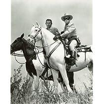 ブロマイド写真★海外ドラマ『ローン・レンジャー』/馬に乗るローン・レンジャーとトント・白黒