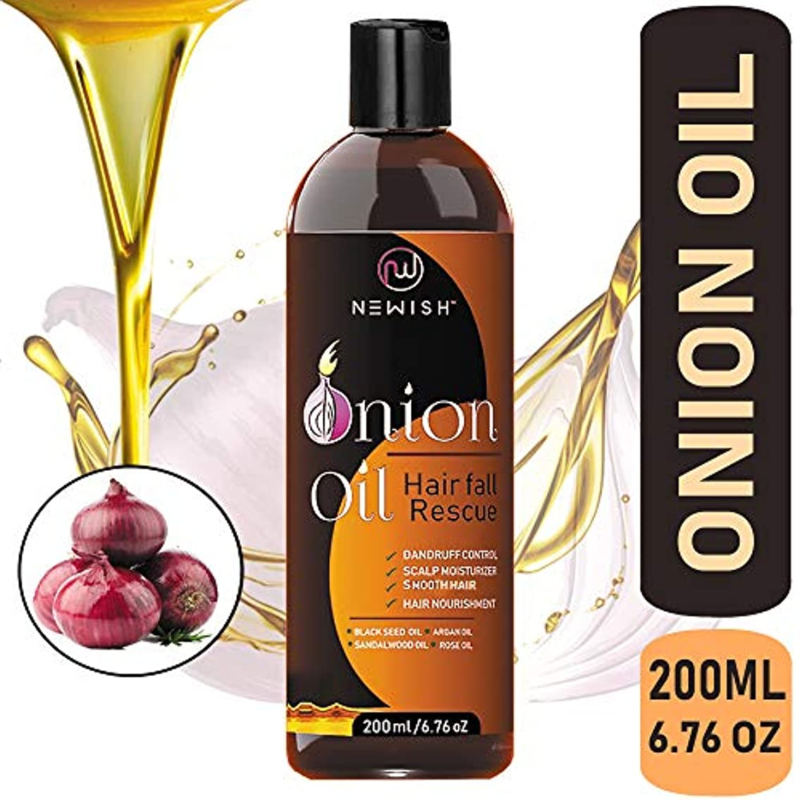 ポケット海藻変わるNewish Red Onion Oil for Hair Regrowth Men and Women, 200ml