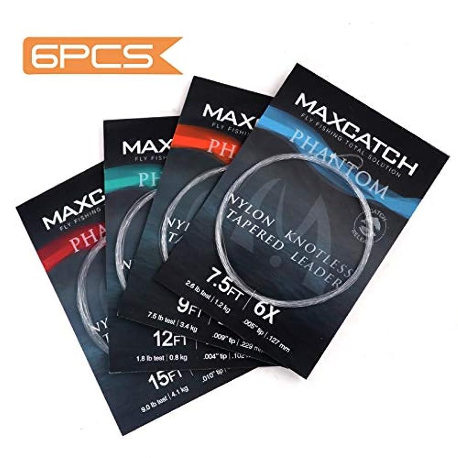 許可共同選択帝国主義M MAXIMUMCATCH マックスキャッチ フライフィッシング テーパードリーダー ループ付き 6パック:7.5フィート/9フィート/12フィート/15フィート/0X-6X
