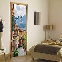 壁画ドアポスター、3Dドアのステッカーイタリアコモレイクタウン街路装飾自己粘着装飾防水77×200センチビニール