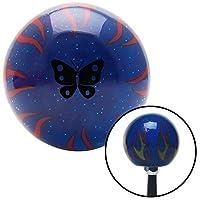 American Shifter 297575 Shift Knob (Black Classic Butterfly Blue Flame Metal Flake) [並行輸入品]