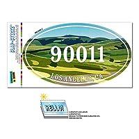 90011 ロサンゼルス市, CA - 緑緩やかに起伏している丘陵 - 楕円形郵便番号ステッカー