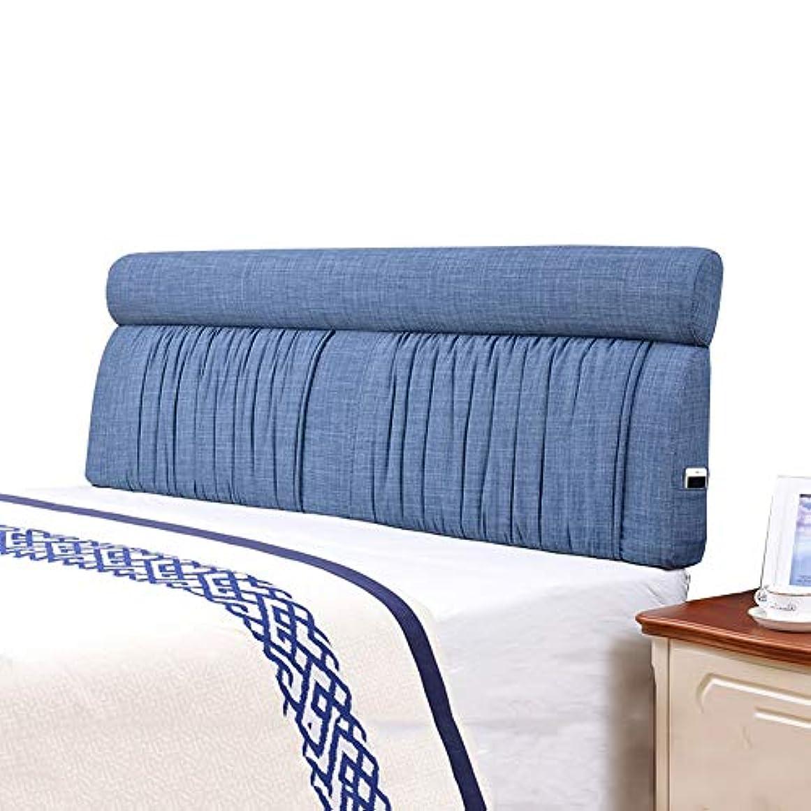 科学君主制力強いLIANGLIANG クッションベッドの背もたれ ベッド背もたれクッション快適な柔らかいスポンジ充填洗える、5色、9サイズ (色 : 青, サイズ さいず : 160x60x12cm)