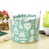 Chennong ストレージバスケット、小さな新鮮な綿とリネンポータブル雑貨バスケットキャビネットデスクトップストレージボックスとハンドルファブリックストレージバスケット (Color : グリーン)