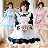[milky time] メイド服 選べるカラー 半袖 長袖 2way仕様 メイド (黒, XL)