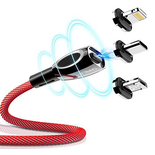 CAFELE マグネット 充電ケーブル iPhone/Android/Type-Cケーブル 3in1ケーブル LEDランプ付き 高耐久ナイロン編み 磁石 防塵 着脱式 MicroUSB+Lightning+Type-Cに対応 2m (レッド)
