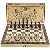 Chess Set 12x12 Folding Wooden Standard Travel International Chess Game Board Set with Magnetic Crafted Pieces by Amerous