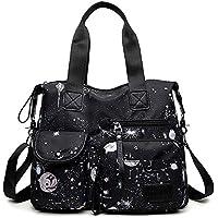 Women's Lightweight Top Handle Handbag Multi-pockets Nylon Work Totes Water Resistant Travel Crossbody Shoulder Bag