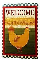 なまけ者雑貨屋 Bird Hen Cornfield Fence Welcome ブリキ看板 壁飾り レトロなデザインボード ポストカード サインプレート 【20×30cm】