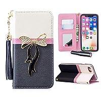 iPhone6Plus スマホケース iPhone6sPlus 手帳型ケース リボン アイフォン6プラスケース 財布型カバー キラキラ ラインストーン 高級PUレザー 化粧鏡 ミラー付き オリジナル カードポケット iPhone6sPlusケース 全面保護 スタンド機能