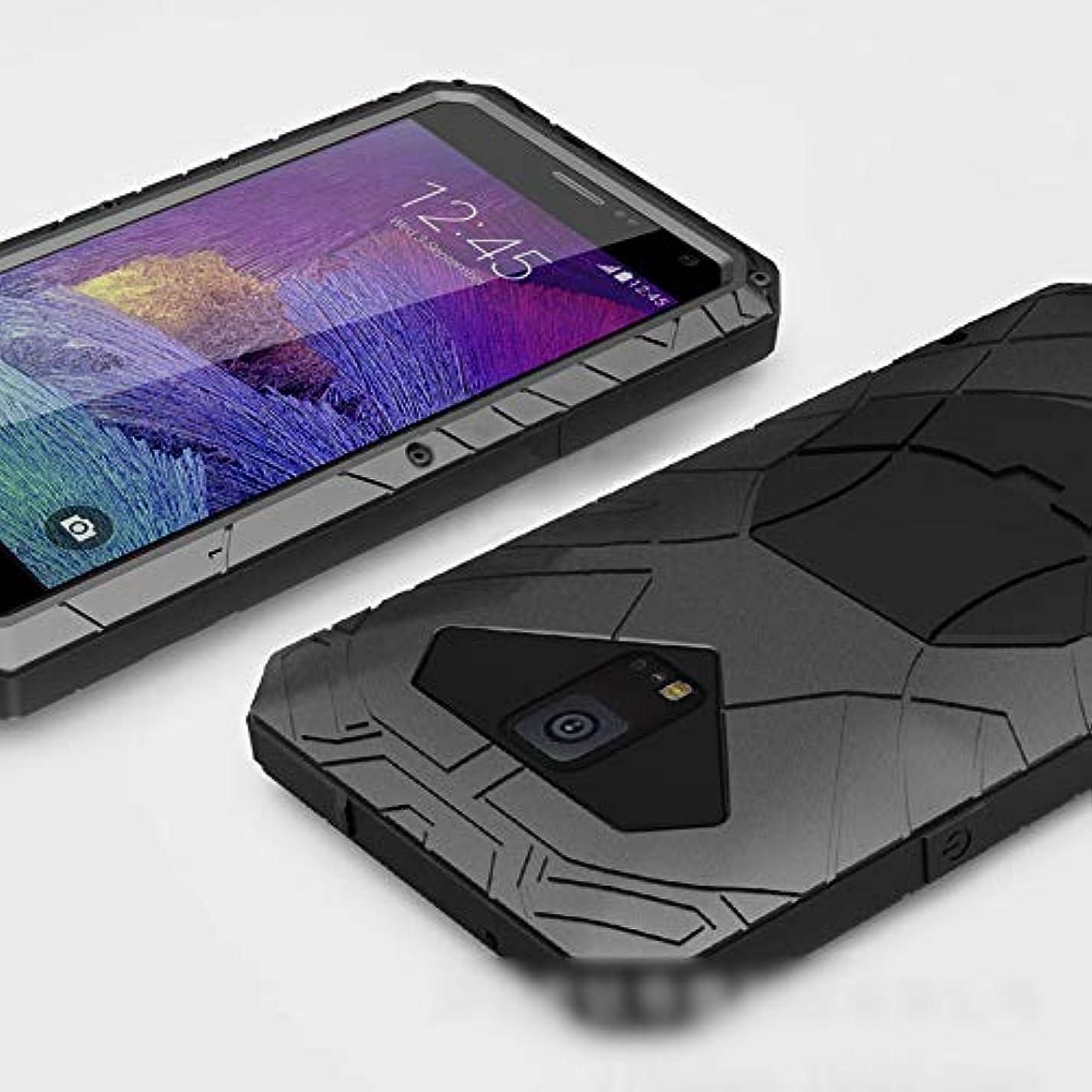 発症権利を与えるタオルTonglilili 電話ケース、サムスン注3、注4、注5、S7、S5、S6のための新しい3つの抗携帯電話シェルハイエンド落下防止カバーメタルシェル電話ケース (Color : 黒, Edition : S5)