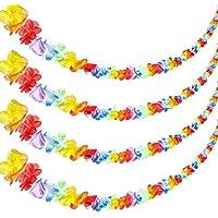 jovitec 4ピース20フィートマルチカラーTropical Flower Leiハワイアンルアウの装飾ガーランドフラワーリーフバナー