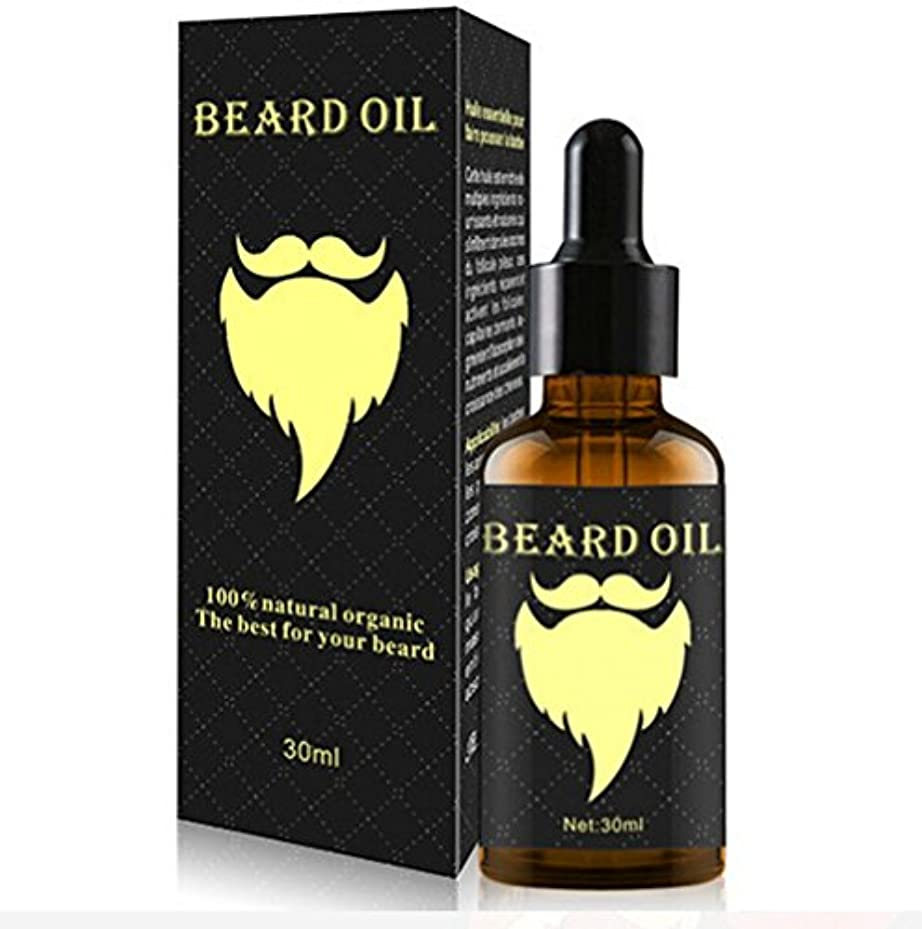男性用30ml 1オンスひげ油ひげ口髭成長エッセンシャルオイルアイブロー毛髪成長用トリートメント液、100%オーガニックナチュラル (gold)