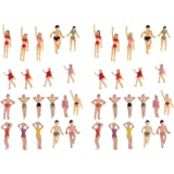 Perfeclan 40 Pieces Models Trains People Figurines Scale Painted Beach Crowd