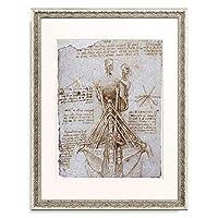 レオナルド・ダ・ヴィンチ Leonardo da Vinci 「Anatomiestudie: Die Muskeln des Halses, dargestellt durch seilahnliche Kraftlinien und verglichen mit einer Schiffstakelage.」 額装アート作品