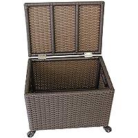 ランドリーバスケット フリップの蓋の収納ボックスの服のおもちゃの収納プラスチックの模造籐ブラウン ZHANGQIANG (サイズ さいず : 50cm*37cm*48cm)