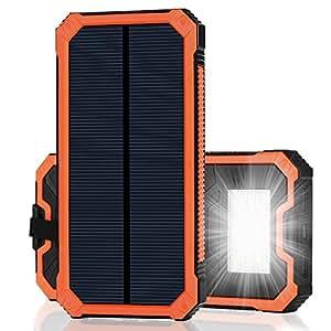 15000mAh大容量 iPhone充電器 モバイルバッテリー ソーラーチャージャー 2USB充電ポート 2つの充電方法 フック付き 緊急防災用 iPhone7 iPad Android Xperia Galaxy等に対応 旅行 キャンプ アウトドアに大活躍(オレンジ)