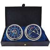 キャビンギフトセットTime & Tide Clock &快適メーターby master-mariner、クローム仕上げ、ブルーフラグダイヤル