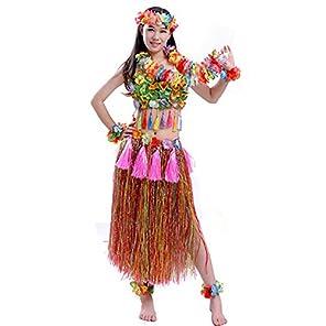 (POMAIKAI) フラダンス 衣装 フラ ダンス コスチューム レイ ベアトップ スカート 8点 セット ( レインボー )