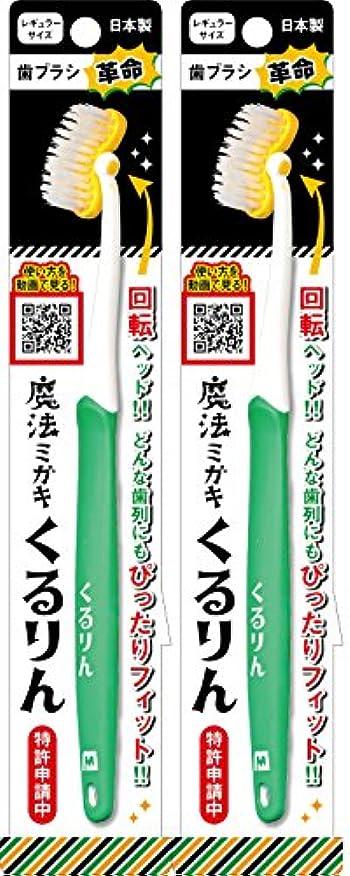 つづり計り知れないデュアル歯ブラシ 魔法ミガキ くるりん グリーン 2本組