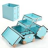 GlassMarble メイクボックス コスメボックス ブラシスタンド プロ用 ツールボックス 日本製 大容量 VMサイズ 水色 2点セット