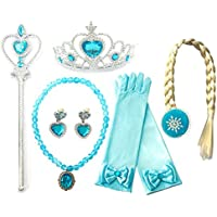 Kuzhi Frozen Princess Elsa Dress up Party Accessories 6 Pcs Set - Gloves, Tiara, Wand, Necklace, Wig & Earrings