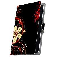 タブレット 手帳型 タブレットケース タブレットカバー カバー レザー ケース 手帳タイプ フリップ ダイアリー 二つ折り 革 花 フラワー 黒 ブラック 007605 ADP-738 Geanee ジーニー adp738xxxx adp738xxxx-007605-tb
