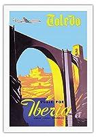トレド、スペイン - 帝国都市 - フライイベリア(スペインの航空会社) - ビンテージな航空会社のポスター c.1950s - 美しいポスターアート