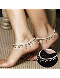 Dongmei 1 x Vintage Tassels Crystal Pearl Anklet Ankle Chain Jewelry