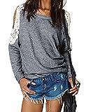 肩開き Tシャツ 肩出し トップス レース 花柄 可愛い トレンド 人気 流行り アパレル 長袖 トップス 体型 カバー ゆったり カットソー フォーマル パーティー シャツ カジュアル 春 秋 冬 レディース 大きい サイズ ファッション 服 レディース ワンピース XLサイズ