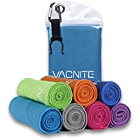 VACNITE クールタオル 速乾タオル 超吸水 軽量 速乾 熱中症対策 100×30cm 1枚 7色選択可能 防水袋付き