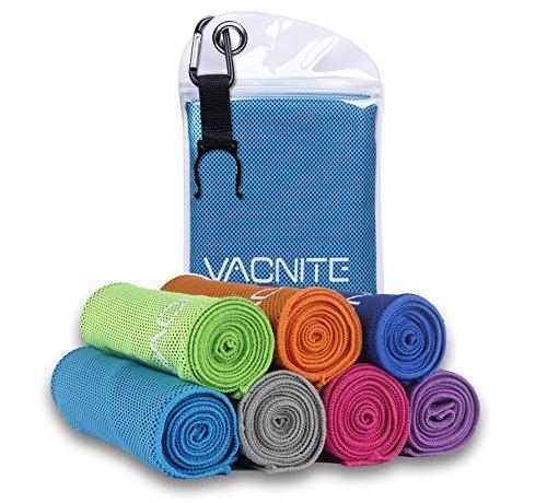 VACNITE クールタオル 速乾タオル 超吸水 軽量 速乾 熱中症対策 100×30cm 7色 防水袋付き (ブルー)