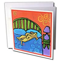 s. Fernleaf Designsフォークアート絵画犬–4Houses With Dog Cute Pets Animals元Folk Art Painting–グリーティングカード Set of 6 Greeting Cards